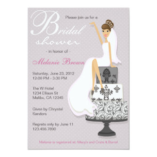 Chic Pink Modern Bride Contemporary Bridal Shower 13 Cm X 18 Cm Invitation Card