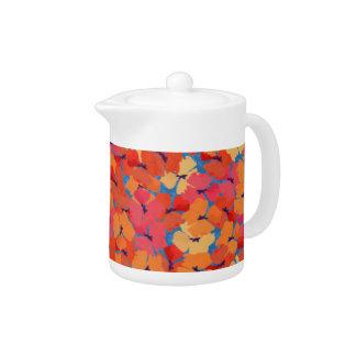 Chic Pink Orange Yellow Poppies China Teapot