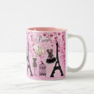 Chic Pink Paris Eiffel Tower Fashion Two-Tone Coffee Mug