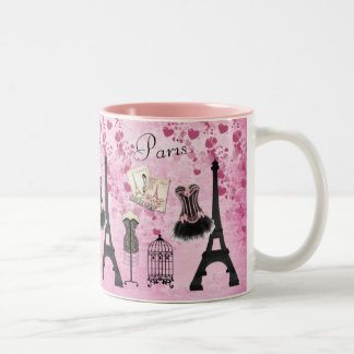 Chic Pink Paris Eiffel Tower Fashion Two-Tone Coffee Mug