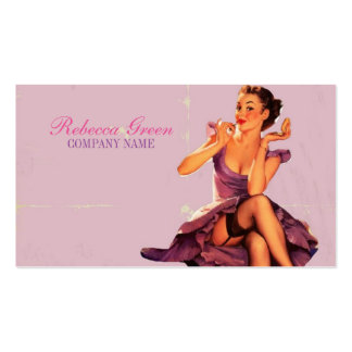 chic pink pin up girl  beauty salon makeup artist Double-Sided standard business cards (Pack of 100)