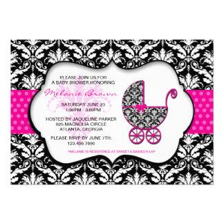 Chic Pink Polka Dot Damask Baby Shower Invite