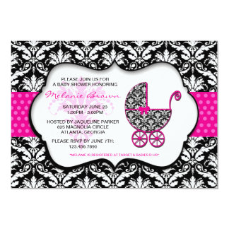 Chic Pink Polka Dot Damask Baby Shower Invite
