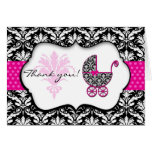 Chic Pink Polka Dot Damask Baby Shower Thank You Greeting Card