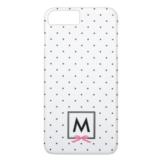 Chic Pink Ribbon Polka Dot Pattern Monogram iPhone 8 Plus/7 Plus Case