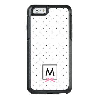 Chic Pink Ribbon Polka Dot Pattern Monogram OtterBox iPhone 6/6s Case