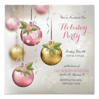 Chic Pink Silver Gold Ornaments Holly Glittery 13 Cm X 13 Cm Square Invitation Card