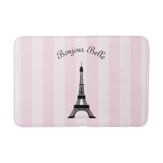 Chic Pink Stripe Paris Eiffel Tower in French Bath Mat