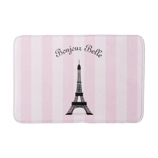 Chic Pink Stripe Paris Eiffel Tower in French