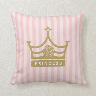 Chic Pink Stripes and Gold Rose Princess Crown Cushion