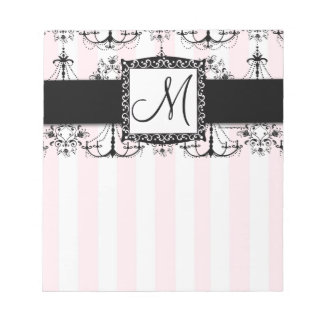 Chic Pink Stripes Black Chandeliers Notepad