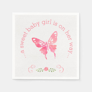 Chic Pink Watercolor Butterfly Girl Baby Shower Disposable Napkin