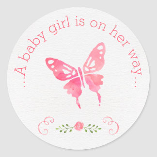 Chic Pink Watercolor Butterfly Girl Baby Shower Round Sticker