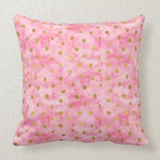 Chic Pink Watercolor Gold Confetti Cushion
