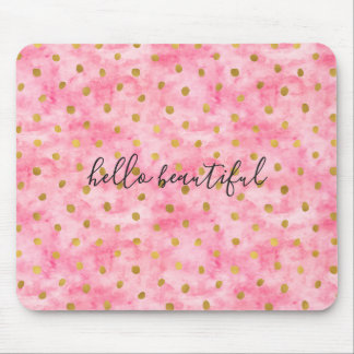 Chic Pink Watercolor Gold Confetti Mouse Mat