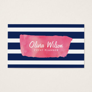 Chic Pink Watercolour & Blue Stripes Social Media Business Card