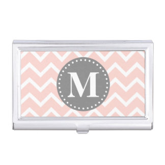 Chic Pink White Gray Zigzag Chevron Monogram Business Card Holder