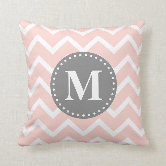 Chic Pink White Grey Zigzag Chevron Monogram Throw