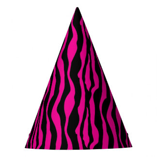 Chic Pink Zebra Print Party Hats