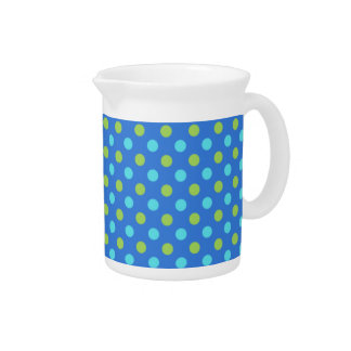 Chic Pitcher or Jug, Blue Green, Polka Dot Pattern