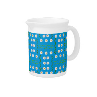 Chic Pitcher or Jug: Daisies on Teal