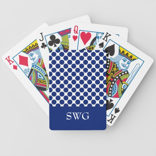 CHIC PLAYING CARDS_ 168 NAVY DOTS/WHITE BICYCLE PLAYING