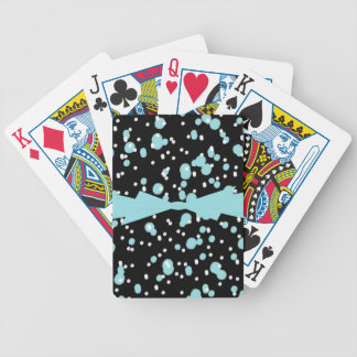 CHIC PLAYING CARDS_AQUA/WHITE DOTS ON BLACK BICYCLE PLAYING CARDS