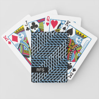 CHIC PLAYING CARDS_BLUE GEOMETRIC ON BLACK POKER DECK