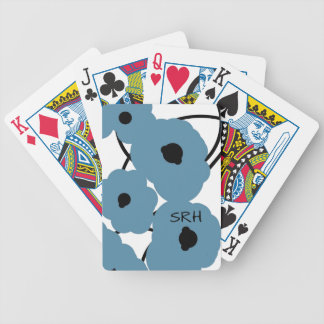 CHIC PLAYING CARDS_MOD BLUE & BLACK POPPIES BICYCLE PLAYING CARDS