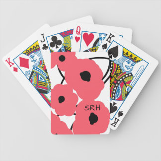 CHIC PLAYING CARDS_MOD CORAL & BLACK POPPIES BICYCLE PLAYING CARDS