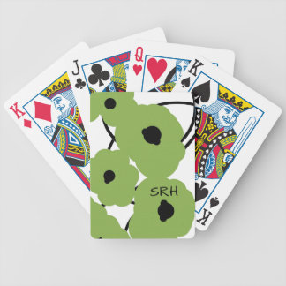 CHIC PLAYING CARDS_MOD GREENERY & BLACK POPPIES BICYCLE PLAYING CARDS