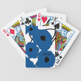 CHIC PLAYING CARDS_MOD LAPIS BLUE & BLACK POPPIES BICYCLE PLAYING CARDS