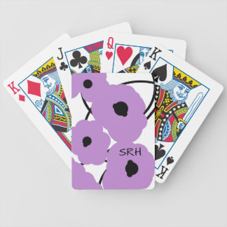 CHIC PLAYING CARDS_MOD LAVENDER & BLACK POPPIES BICYCLE PLAYING CARDS