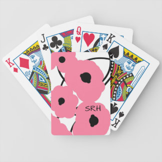CHIC PLAYING CARDS_MOD PINK & BLACK POPPIES BICYCLE PLAYING CARDS