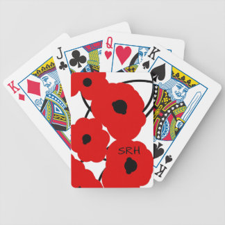 CHIC PLAYING CARDS_MOD RED & BLACK POPPIES BICYCLE PLAYING CARDS