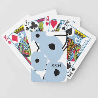 CHIC PLAYING CARDS_MOD SOFT BLUE & BLACK POPPIES BICYCLE PLAYING CARDS