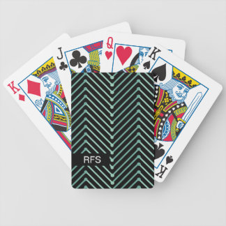 CHIC PLAYING CARDS_MODERN MINT ZIGZAG ON BLACK BICYCLE PLAYING CARDS