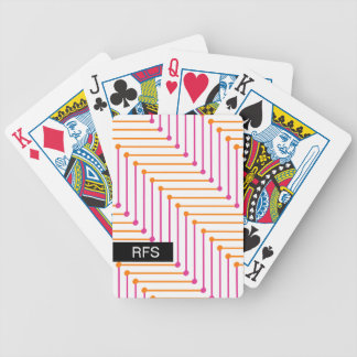 CHIC PLAYING CARDS_MODERN ORANGE/PINK ZIGZAG BICYCLE PLAYING CARDS