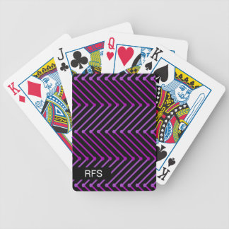 CHIC PLAYING CARDS_MODERN PURPLE ON BLACK ZIGZAG BICYCLE PLAYING CARDS