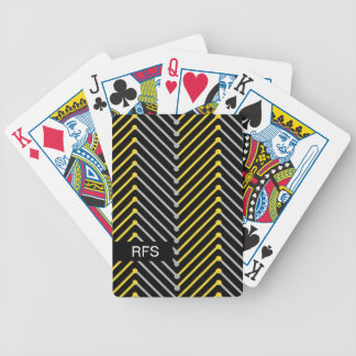 CHIC PLAYING CARDS_MODERN YELLOW/GREY ZIGZAG BICYCLE PLAYING CARDS