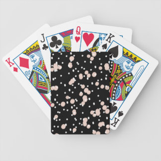 CHIC PLAYING CARDS_PINK/WHITE DOTS ON BLACK BICYCLE PLAYING CARDS
