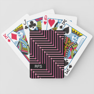 CHIC PLAYING CARDS_PINK ZIGZAG ON BLACK BICYCLE PLAYING CARDS