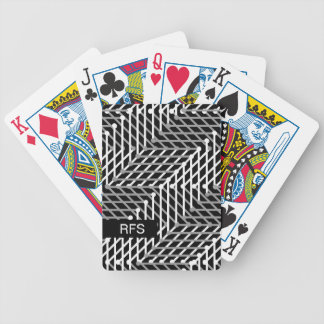 CHIC PLAYING CARDS_WHITE/GREY GEOMETRIC ON BLACK BICYCLE PLAYING CARDS