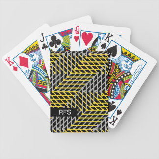 CHIC PLAYING CARDS_YELLOW/GREY GEOMETRIC ON BLACK BICYCLE PLAYING CARDS