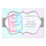 Chic Polka Dot Damask Baby Bib Gender Reveal 13 Cm X 18 Cm Invitation Card