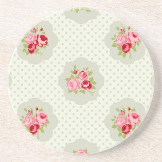 chic polka dot teal red floral white vintage pink coaster