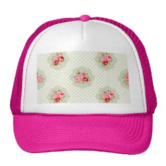 chic polka dot teal red floral white vintage pink trucker hats