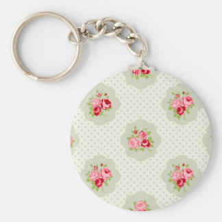 chic polka dot teal red floral white vintage pink keychains