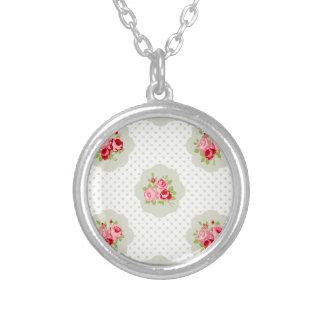chic polka dot teal red floral white vintage pink necklace