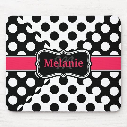 Chic Polka Dots Hot Pink Black White Custom Name Mouse Mat
